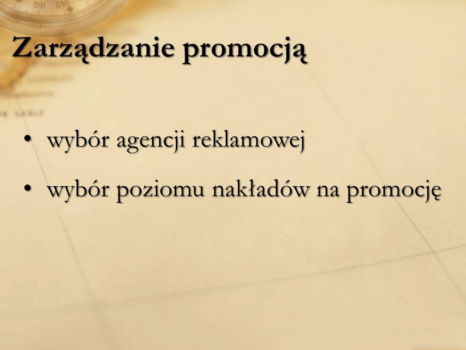 Zarządzanie promocją wybór agencji reklamowej wybór agencji reklamowej wybór poziomu nakładów na promocję wybór poziomu nakładów na promocję