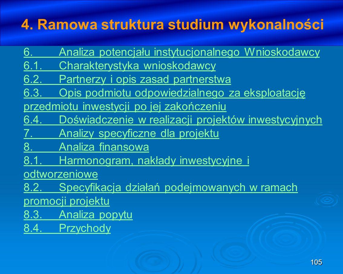 105 4. Ramowa struktura studium wykonalności 6.Analiza potencjału instytucjonalnego Wnioskodawcy 6.1.Charakterystyka wnioskodawcy 6.2.Partnerzy i opis