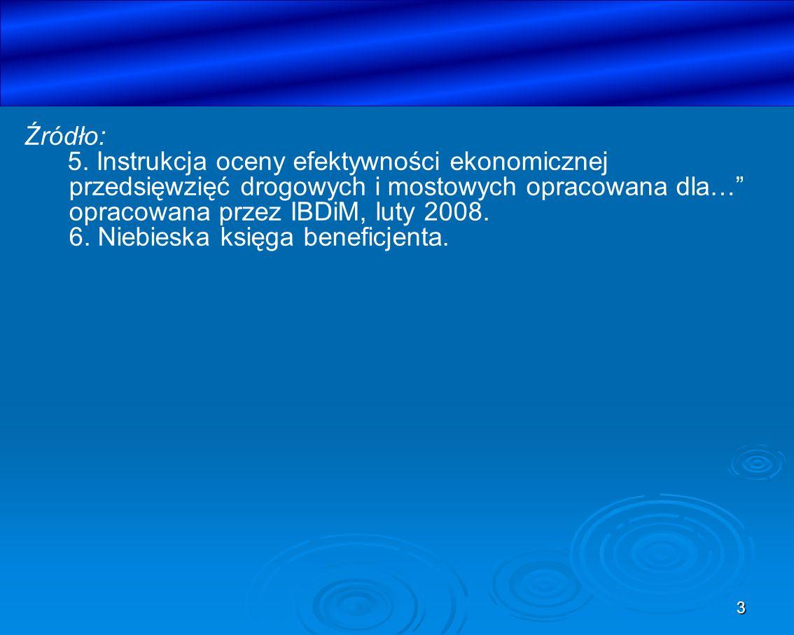 3 Źródło: 5. Instrukcja oceny efektywności ekonomicznej przedsięwzięć drogowych i mostowych opracowana dla… opracowana przez IBDiM, luty 2008. 6. Nieb