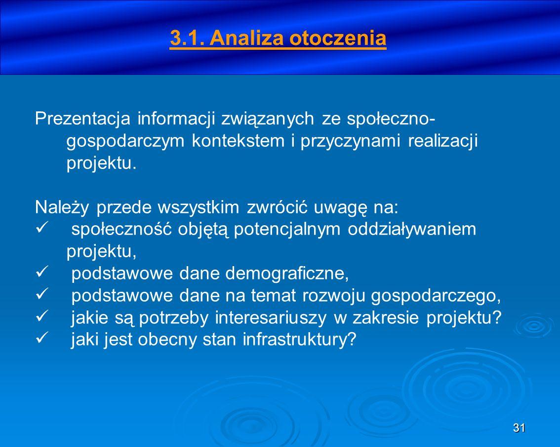 31 3.1. Analiza otoczenia Prezentacja informacji związanych ze społeczno- gospodarczym kontekstem i przyczynami realizacji projektu. Należy przede wsz