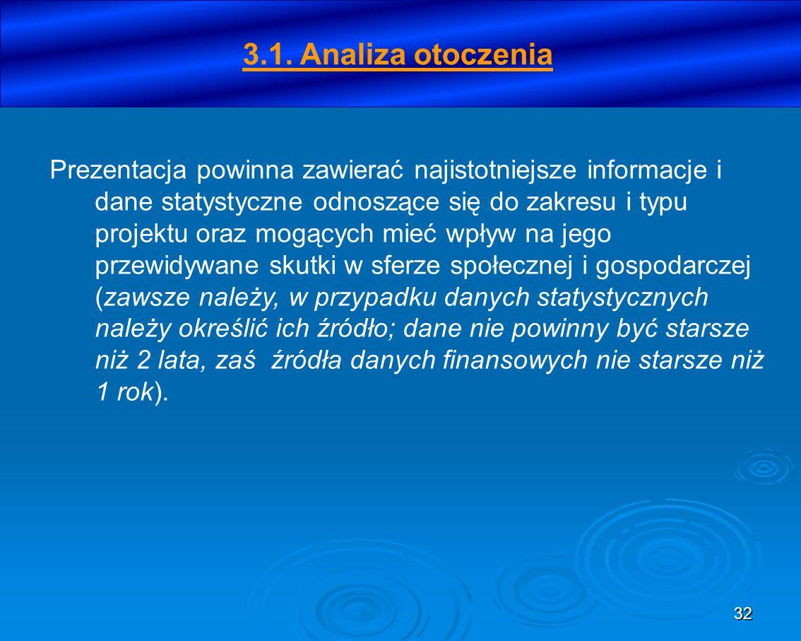 32 3.1. Analiza otoczenia Prezentacja powinna zawierać najistotniejsze informacje i dane statystyczne odnoszące się do zakresu i typu projektu oraz mo