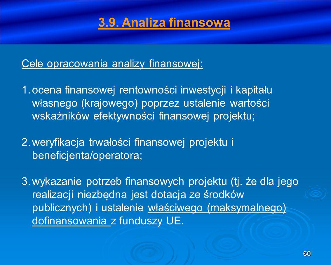 60 Cele opracowania analizy finansowej: 1.ocena finansowej rentowności inwestycji i kapitału własnego (krajowego) poprzez ustalenie wartości wskaźnikó