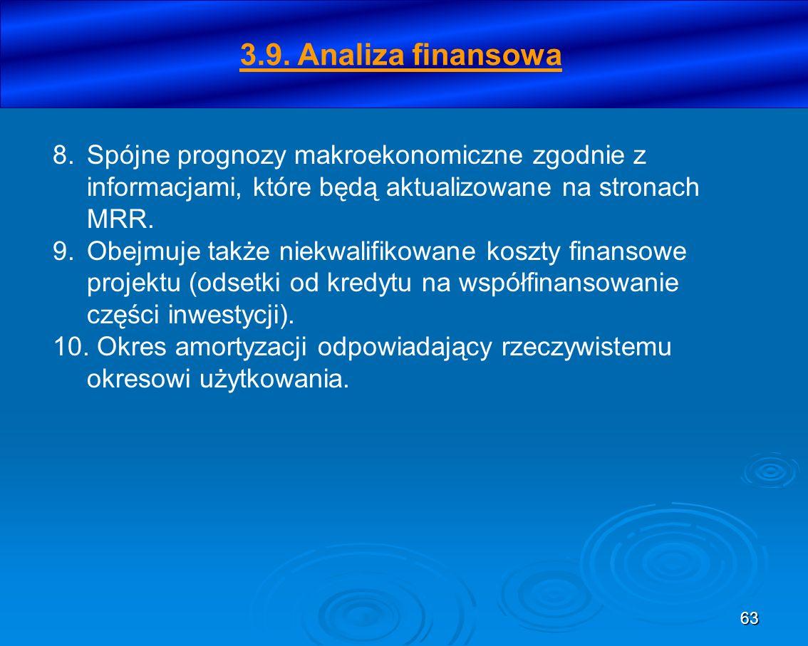 63 8.Spójne prognozy makroekonomiczne zgodnie z informacjami, które będą aktualizowane na stronach MRR. 9.Obejmuje także niekwalifikowane koszty finan