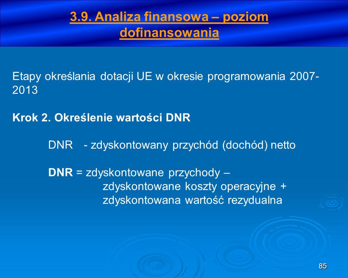 85 Etapy określania dotacji UE w okresie programowania 2007- 2013 Krok 2. Określenie wartości DNR DNR- zdyskontowany przychód (dochód) netto DNR = zdy