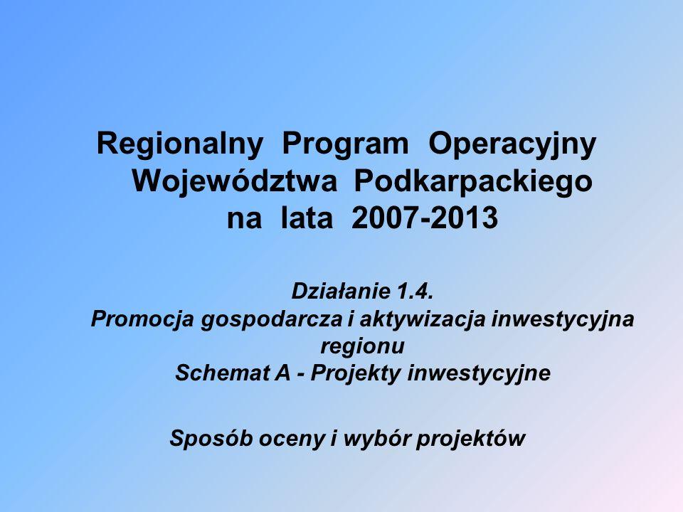 Regionalny Program Operacyjny Województwa Podkarpackiego na lata 2007-2013 Działanie 1.4.