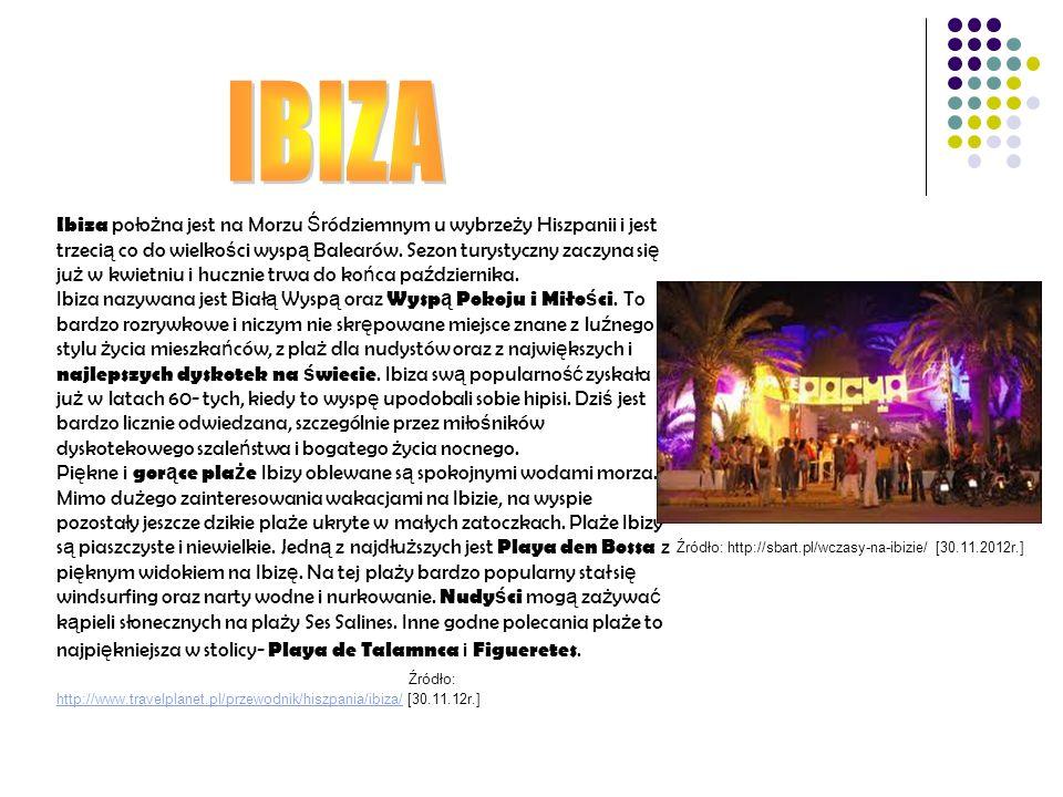 Ibiza poło ż na jest na Morzu Ś ródziemnym u wybrze ż y Hiszpanii i jest trzeci ą co do wielko ś ci wysp ą Balearów. Sezon turystyczny zaczyna si ę ju