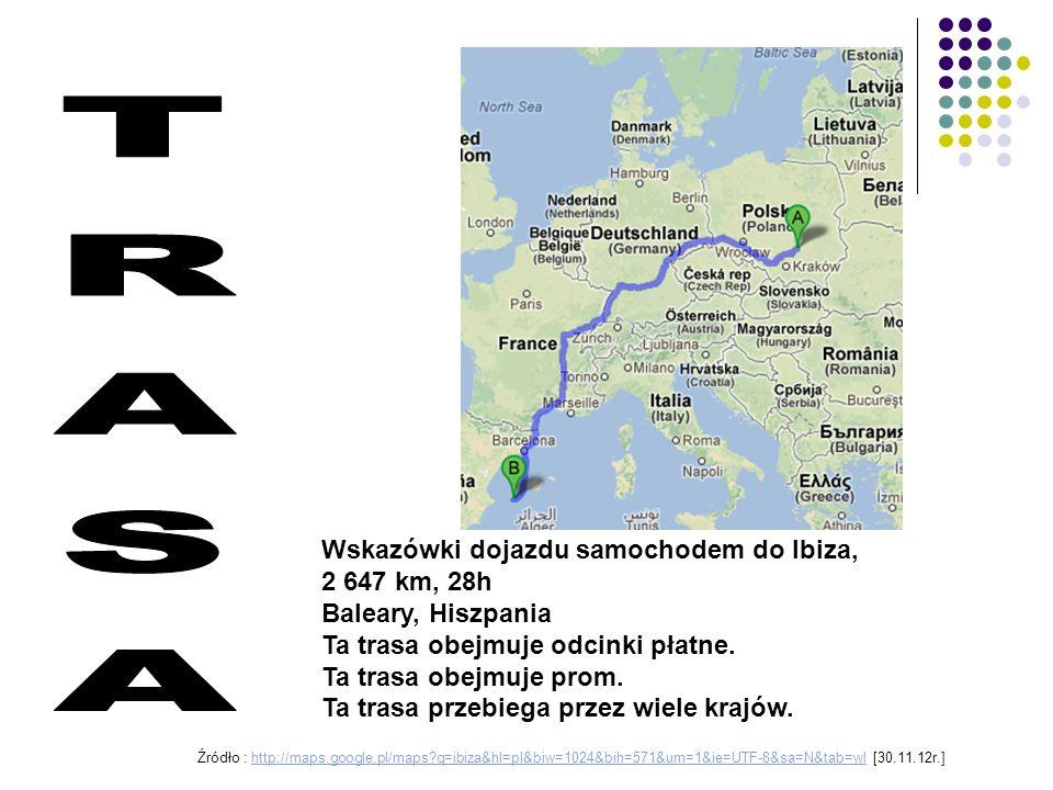 Wskazówki dojazdu samochodem do Ibiza, 2 647 km, 28h Baleary, Hiszpania Ta trasa obejmuje odcinki płatne. Ta trasa obejmuje prom. Ta trasa przebiega p