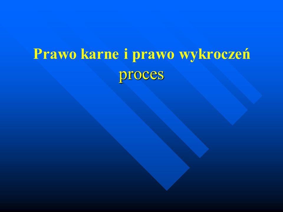 Przedmiot procesu Przedmiot procesu to odpowiedzialność karna a czasem cywilna.