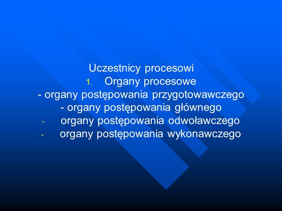 Uczestnicy procesowi 1. 1. Organy procesowe - organy postępowania przygotowawczego - organy postępowania głównego - - organy postępowania odwoławczego