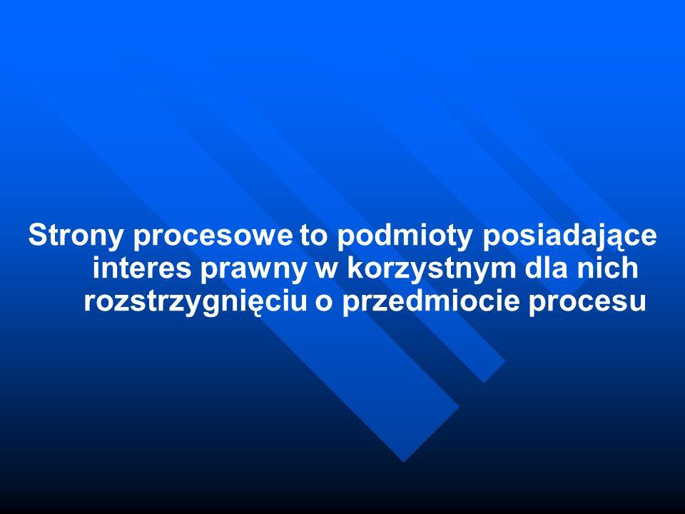 Strony procesowe to podmioty posiadające interes prawny w korzystnym dla nich rozstrzygnięciu o przedmiocie procesu