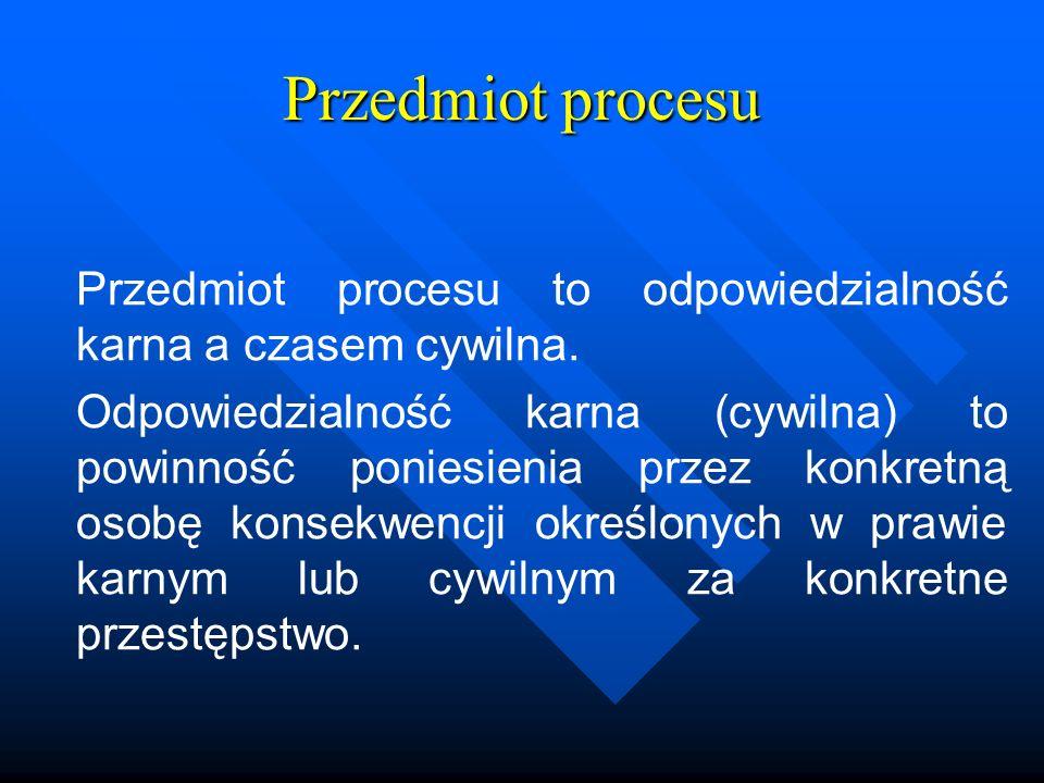 Przedmiot procesu Przedmiot procesu to odpowiedzialność karna a czasem cywilna. Odpowiedzialność karna (cywilna) to powinność poniesienia przez konkre