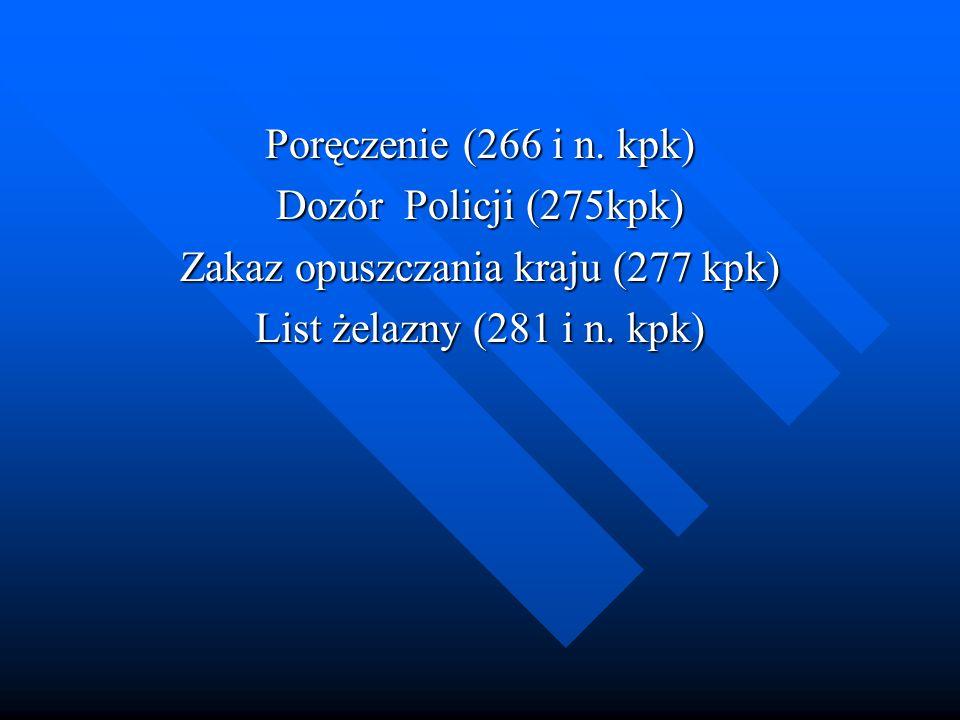 Poręczenie (266 i n. kpk) Dozór Policji (275kpk) Zakaz opuszczania kraju (277 kpk) List żelazny (281 i n. kpk)