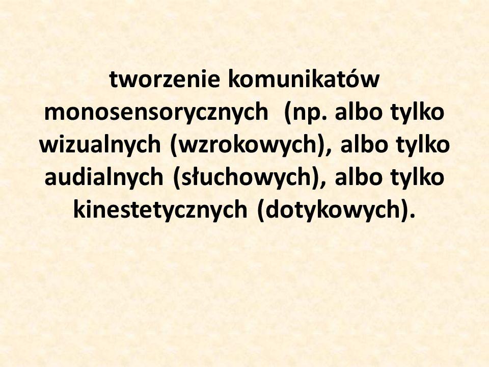 tworzenie komunikatów monosensorycznych (np. albo tylko wizualnych (wzrokowych), albo tylko audialnych (słuchowych), albo tylko kinestetycznych (dotyk
