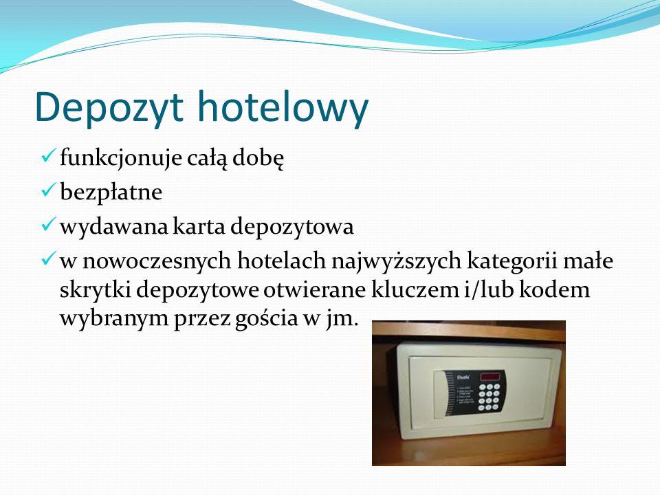 Depozyt hotelowy funkcjonuje całą dobę bezpłatne wydawana karta depozytowa w nowoczesnych hotelach najwyższych kategorii małe skrytki depozytowe otwie