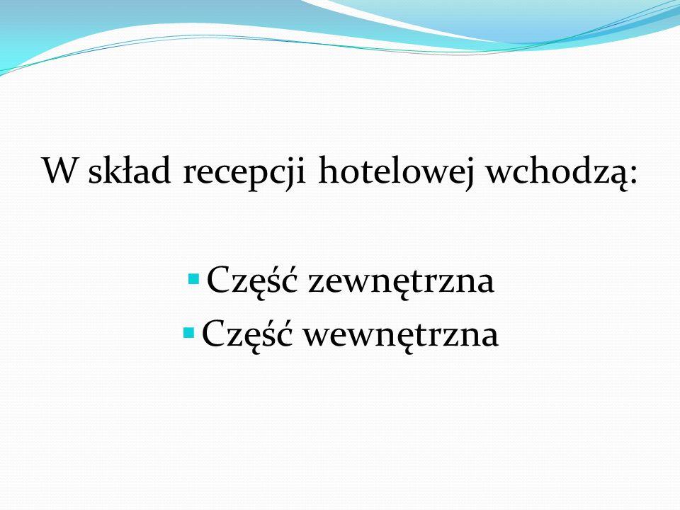 W skład recepcji hotelowej wchodzą: Część zewnętrzna Część wewnętrzna