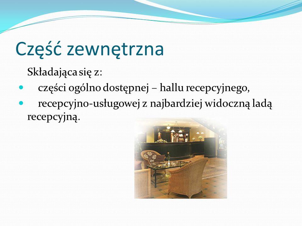 Część zewnętrzna Składająca się z: części ogólno dostępnej – hallu recepcyjnego, recepcyjno-usługowej z najbardziej widoczną ladą recepcyjną.