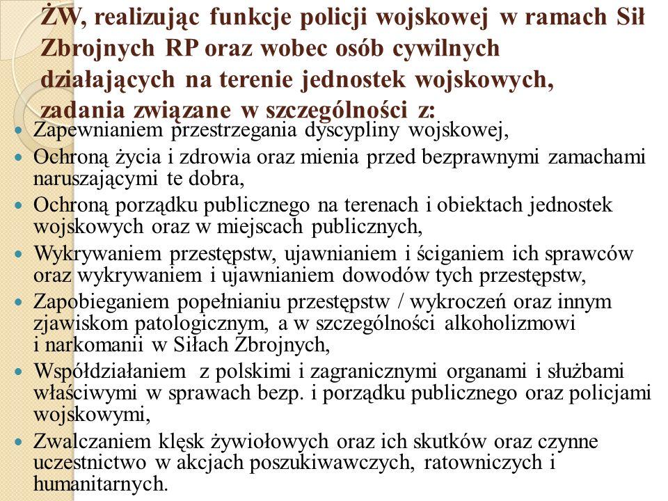 Oddziały specjalne ŻW Na podstawie zarządzenia MON utworzono 3 oddziały specjalne ŻW stacjonujące w Mińsku Mazowieckim, Gliwicach i w Warszawie.
