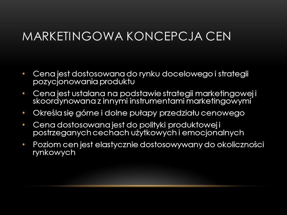 MARKETINGOWA KONCEPCJA CEN Cena jest dostosowana do rynku docelowego i strategii pozycjonowania produktu Cena jest ustalana na podstawie strategii mar