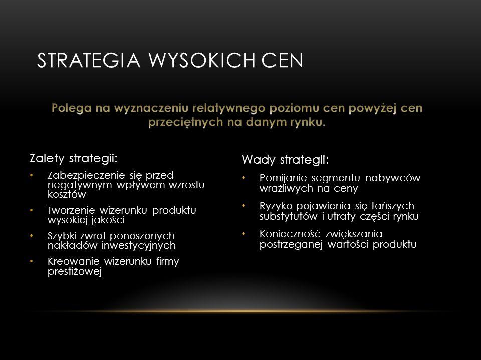STRATEGIA WYSOKICH CEN Wady strategii: Pomijanie segmentu nabywców wrażliwych na ceny Ryzyko pojawienia się tańszych substytutów i utraty części rynku