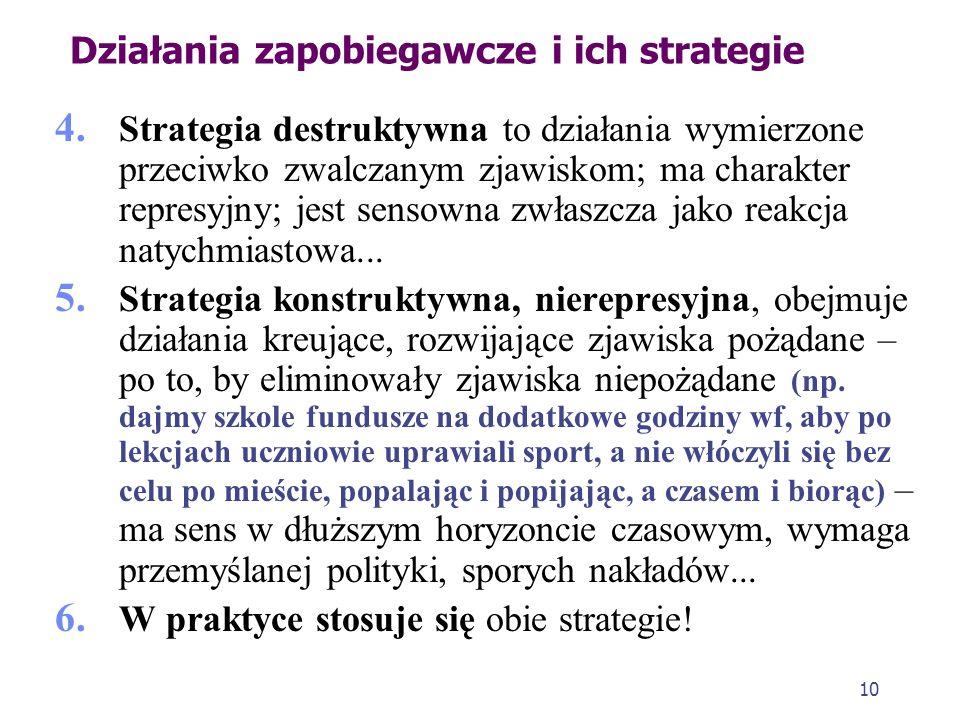 Działania zapobiegawcze i ich strategie Drugie podejście występuje w dwóch odmianach: a. W pierwszej odpowiedzialną za przestępczość czyni się naturę