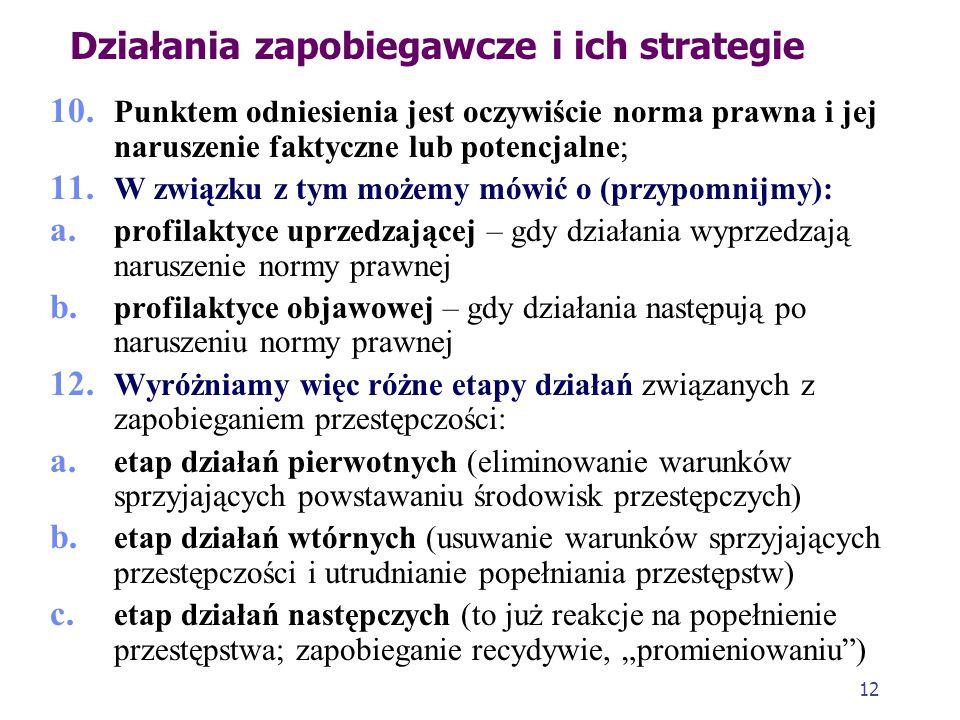 11 Działania zapobiegawcze i ich strategie 7. Wyważenie udziału jednej i drugiej strategii w podejmowanych działaniach prewencyjnych jest ze społeczne