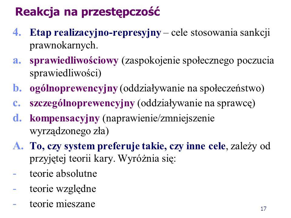 16 Reakcja na przestępczość c. Pojęcie prewencji ogólnej (generalnej) (łac. praeventio – zapobieganie czemu, zwłaszcza przestępstwom) – powstrzymujące