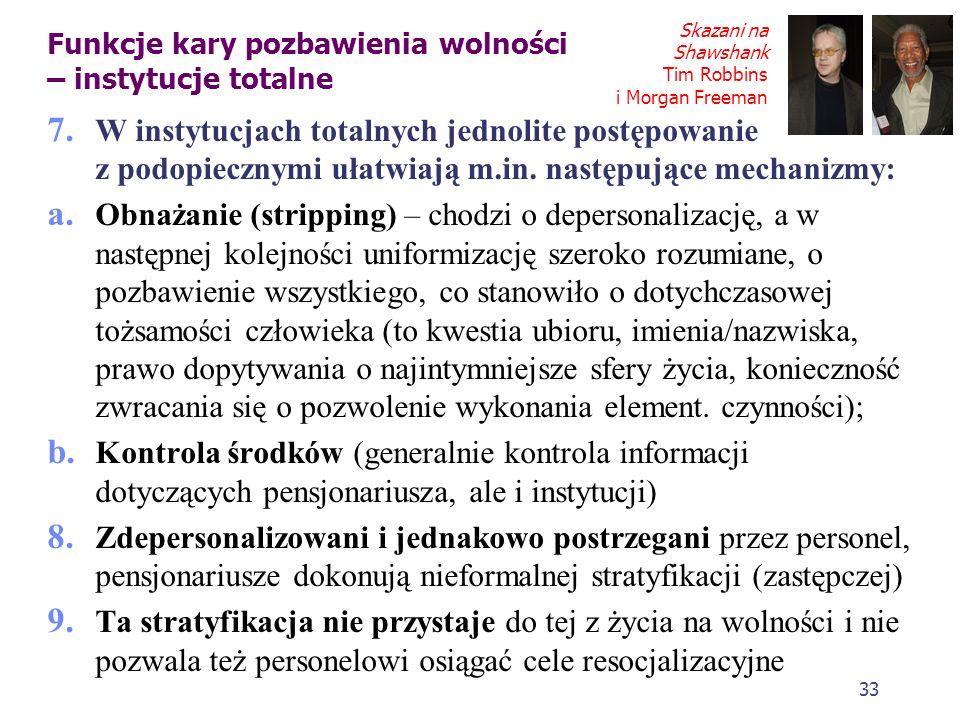 32 Funkcje kary pozbawienia wolności – instytucje totalne 5. Cechy instytucji totalnych wg Ervinga Goffmana a. życie w grupie (wszystkie czynności cod
