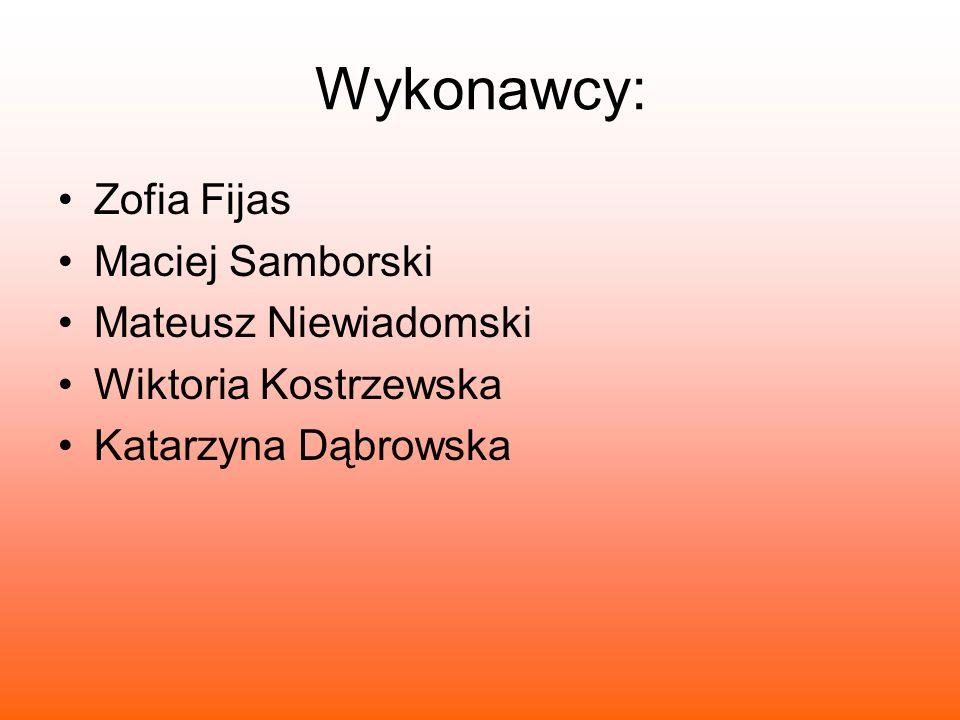 Wykonawcy: Zofia Fijas Maciej Samborski Mateusz Niewiadomski Wiktoria Kostrzewska Katarzyna Dąbrowska