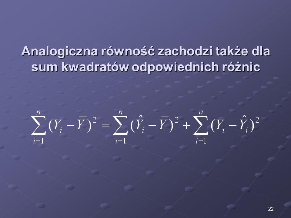 22 Analogiczna równość zachodzi także dla sum kwadratów odpowiednich różnic