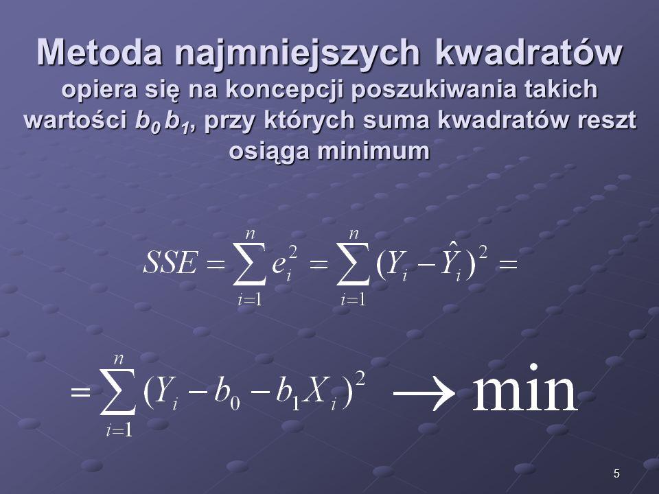 16 Reszty e 1 = Y 1 - Ŷ 1 = 10 - 13,24 = -3,24 e 2 = Y 2 – Ŷ 2 = 6 - 3,06 = 2,94 e 3 = Y 3 – Ŷ 3 = 5 - 7,42 = -2,42 e 4 = Y 4 – Ŷ 4 = 12 - 10,33 = 1,67 e 5 = Y 5 – Ŷ 5 = 10 - 8,88 = 1,12 e 6 = Y 6 – Ŷ 6 = 15 - 14,69 = 0,31 e 7 = Y 7 – Ŷ 7 = 5 - 8,88 = -3,88 e 8 = Y 8 – Ŷ 8 = 12 - 11,78 = 0,22 e 9 = Y 9 – Ŷ 9 = 17 - 17,60 = - 0,60 e 10 = Y 10 - Ŷ 10 = 20 - 16,15 = 3,85