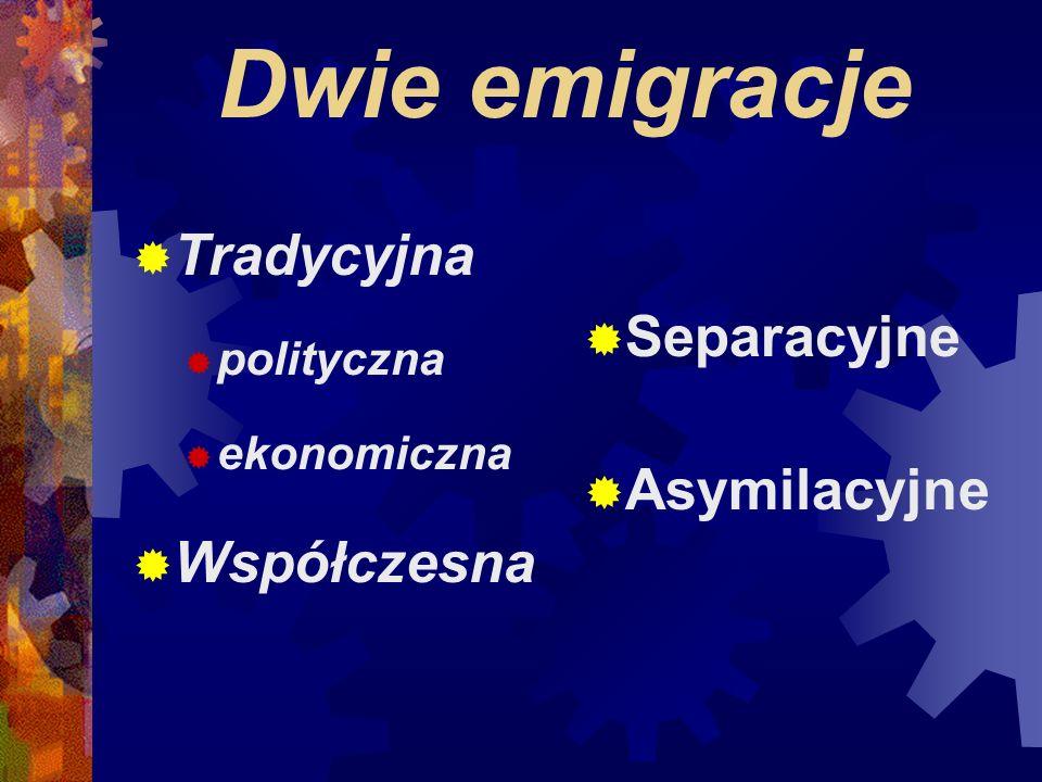 Dwie emigracje Tradycyjna polityczna ekonomiczna Współczesna Separacyjne Asymilacyjne