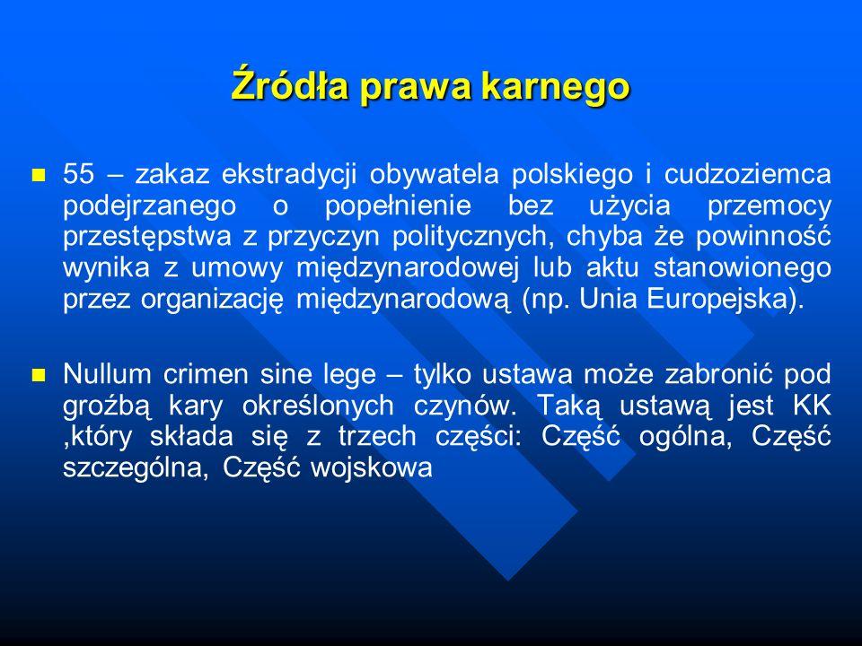 Źródła prawa karnego 55 – zakaz ekstradycji obywatela polskiego i cudzoziemca podejrzanego o popełnienie bez użycia przemocy przestępstwa z przyczyn p