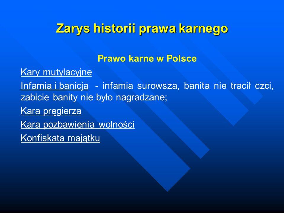 Zarys historii prawa karnego Prawo karne w Polsce Kary mutylacyjne Infamia i banicja- infamia surowsza, banita nie tracił czci, zabicie banity nie był