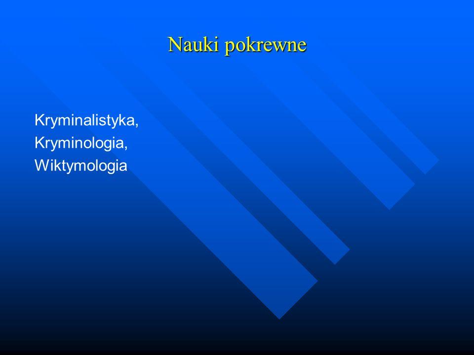Nauki pokrewne Kryminalistyka, Kryminologia, Wiktymologia