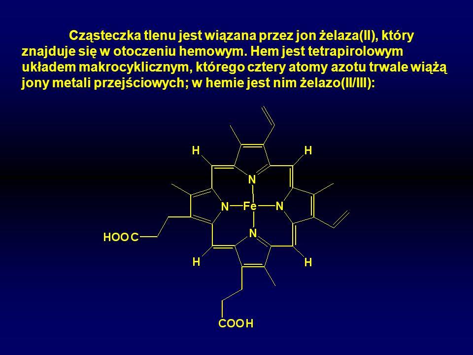 Cząsteczka tlenu jest wiązana przez jon żelaza(II), który znajduje się w otoczeniu hemowym. Hem jest tetrapirolowym układem makrocyklicznym, którego c