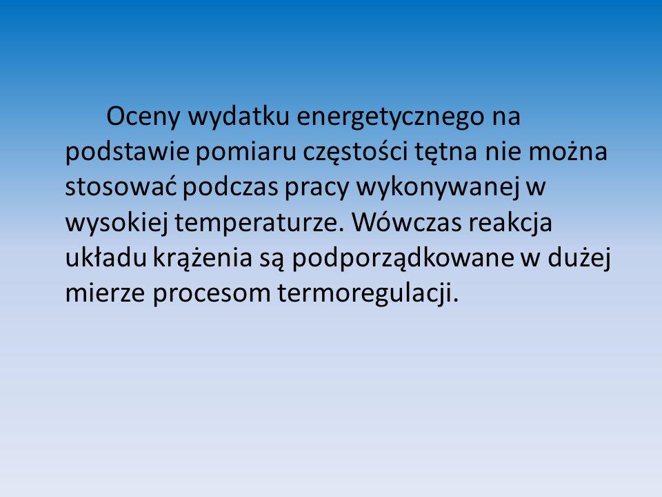 Oceny wydatku energetycznego na podstawie pomiaru częstości tętna nie można stosować podczas pracy wykonywanej w wysokiej temperaturze. Wówczas reakcj