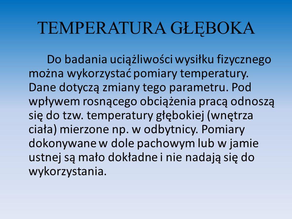 TEMPERATURA GŁĘBOKA Do badania uciążliwości wysiłku fizycznego można wykorzystać pomiary temperatury. Dane dotyczą zmiany tego parametru. Pod wpływem