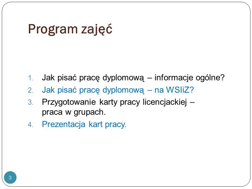 Literatura: 1.Jak napisać dobrą pracę magisterską / Stanisław Urban, Wiesław Ładoński.