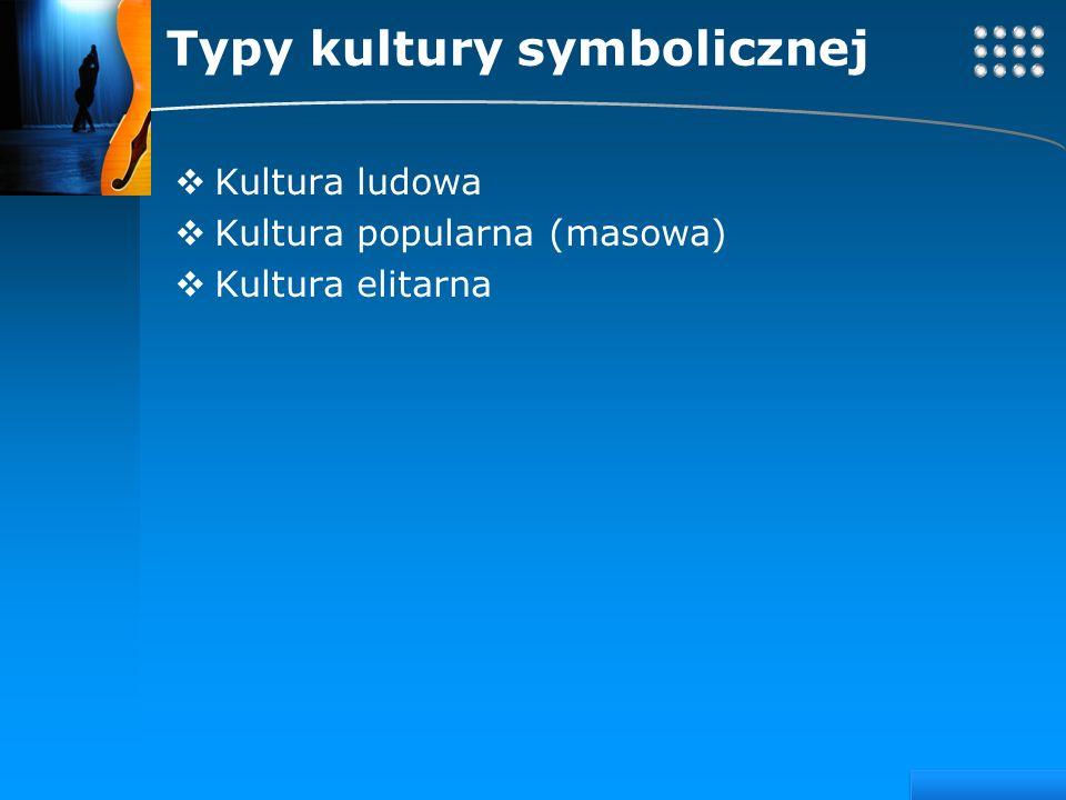 Your site here LOGO Typy kultury symbolicznej Kultura ludowa Kultura popularna (masowa) Kultura elitarna