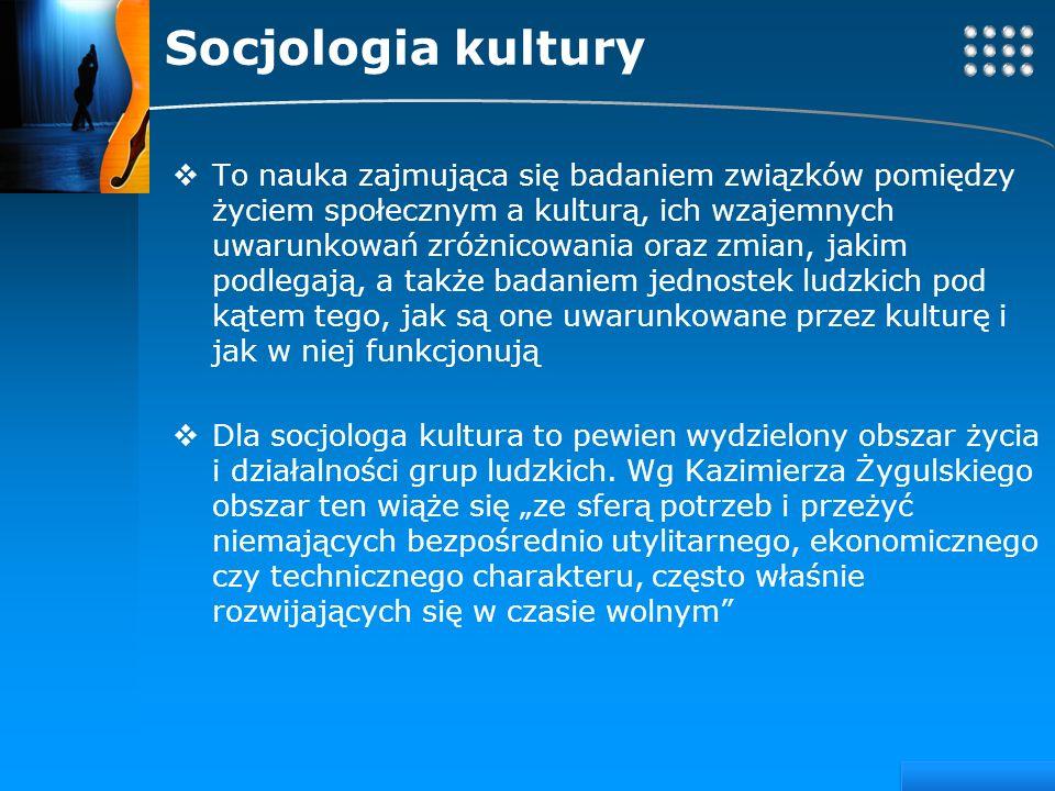 Your site here LOGO Socjologia kultury To nauka zajmująca się badaniem związków pomiędzy życiem społecznym a kulturą, ich wzajemnych uwarunkowań zróżn