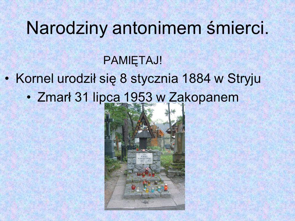 Narodziny antonimem śmierci. PAMIĘTAJ! Kornel urodził się 8 stycznia 1884 w Stryju Zmarł 31 lipca 1953 w Zakopanem