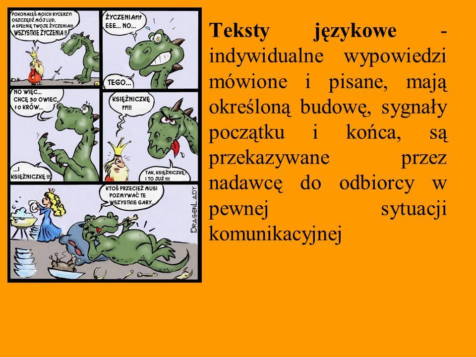 Tekst Teksty językowe - indywidualne wypowiedzi mówione i pisane, mają określoną budowę, sygnały początku i końca, są przekazywane przez nadawcę do od