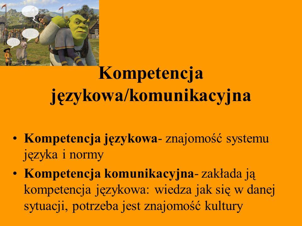 Kompetencja językowa/komunikacyjna Kompetencja językowa- znajomość systemu języka i normy Kompetencja komunikacyjna- zakłada ją kompetencja językowa: