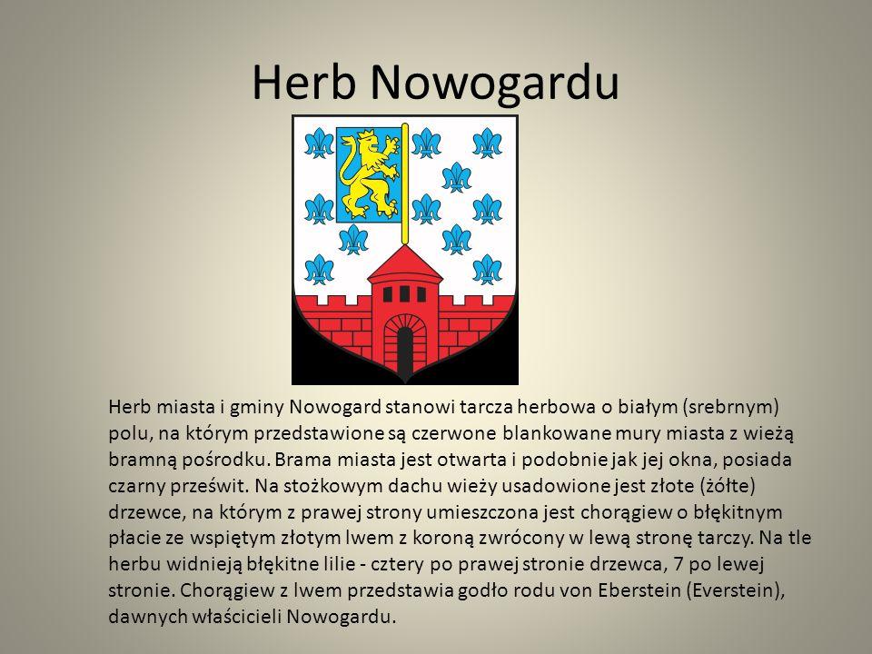 Herb Nowogardu Herb miasta i gminy Nowogard stanowi tarcza herbowa o białym (srebrnym) polu, na którym przedstawione są czerwone blankowane mury miast