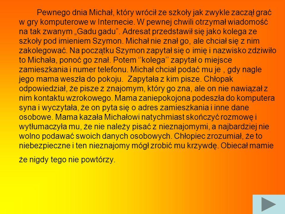Pewnego dnia Michał, który wrócił ze szkoły jak zwykle zaczął grać w gry komputerowe w Internecie. W pewnej chwili otrzymał wiadomość na tak zwanym Ga