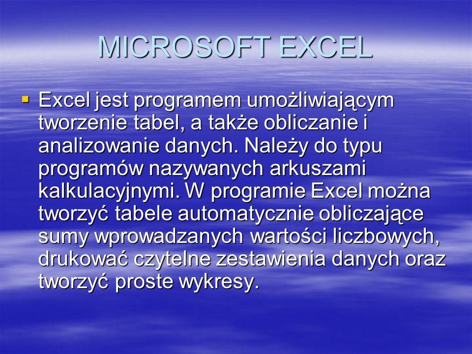 MICROSOFT EXCEL Excel jest programem umożliwiającym tworzenie tabel, a także obliczanie i analizowanie danych. Należy do typu programów nazywanych ark