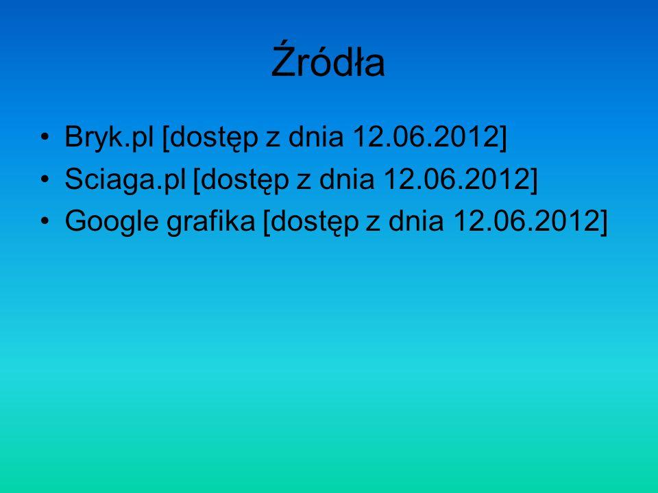 Źródła Bryk.pl [dostęp z dnia 12.06.2012] Sciaga.pl [dostęp z dnia 12.06.2012] Google grafika [dostęp z dnia 12.06.2012]