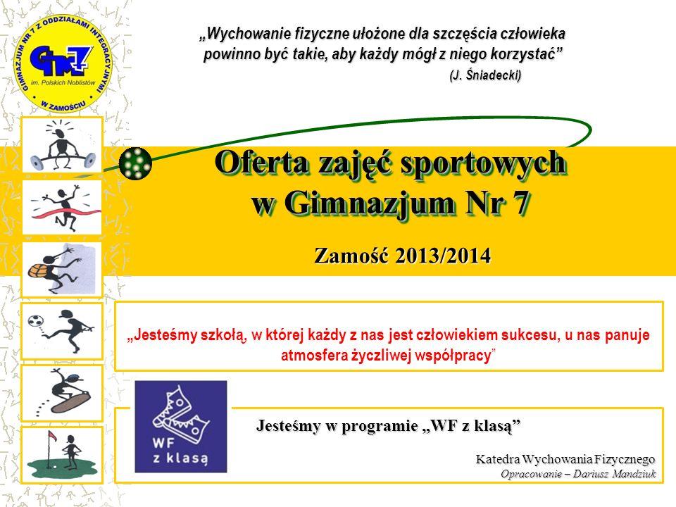 Oferta zajęć sportowych w Gimnazjum Nr 7 WF - Dariusz Mandziuk Zamość 2013/2014 Jesteśmy w programie WF z klasą Katedra Wychowania Fizycznego Opracowa