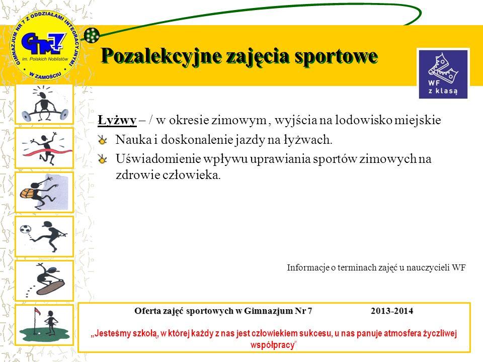 Pozalekcyjne zajęcia sportowe Łyżwy – / w okresie zimowym, wyjścia na lodowisko miejskie Nauka i doskonalenie jazdy na łyżwach. Uświadomienie wpływu u