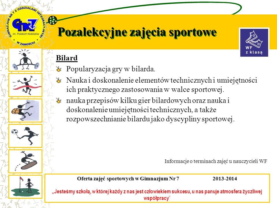 Pozalekcyjne zajęcia sportowe Bilard Popularyzacja gry w bilarda. Nauka i doskonalenie elementów technicznych i umiejętności ich praktycznego zastosow